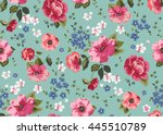 seamless cuban floral pattern... | Shutterstock .eps vector #445510789