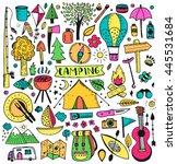 Camping doodle set. Vector cartoon illustration. Travel  items.