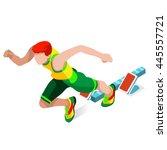 running 100 metres dash... | Shutterstock . vector #445557721