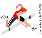 athletics hurdle jumping 2016... | Shutterstock . vector #445566739