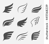 wings vector set of icons... | Shutterstock .eps vector #445568239