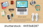 world map in the laptop with... | Shutterstock .eps vector #445568287