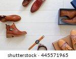 flat lay set of unopened brown... | Shutterstock . vector #445571965