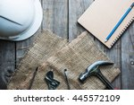 old tools and notepad on a... | Shutterstock . vector #445572109