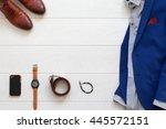 flat lay set of classic men s... | Shutterstock . vector #445572151
