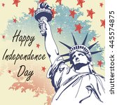 Greeting Card With U.s. Flag...