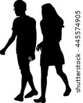 couple of young guy and girl on ... | Shutterstock .eps vector #445574905