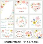birthday floral card set with... | Shutterstock .eps vector #445576501