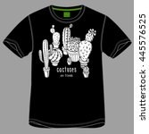 t shirt with images of a cacti... | Shutterstock .eps vector #445576525