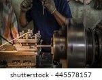 Metal Lathe,Lathe machine in a  Retro workshop - stock photo