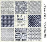 set of nine abstract pen... | Shutterstock .eps vector #445579657