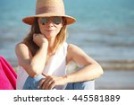 close up of happy mature woman... | Shutterstock . vector #445581889