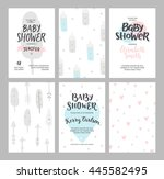 baby shower girl and boy... | Shutterstock . vector #445582495