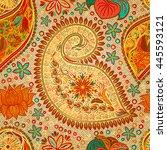 paisley vintage floral motif... | Shutterstock . vector #445593121