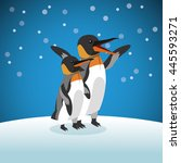pinguin icon. snowing... | Shutterstock .eps vector #445593271