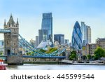 tower bridge and financial... | Shutterstock . vector #445599544