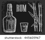 glass and bottle of rum with... | Shutterstock .eps vector #445605967
