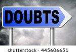 doubts doubting being uncertain ... | Shutterstock . vector #445606651