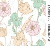 vector vintage flowers pastel... | Shutterstock .eps vector #445606915