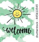 welcome summer calligraphy.... | Shutterstock .eps vector #445613545
