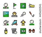 thin line golf icons set  golf...
