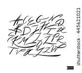 expressive calligraphic script... | Shutterstock .eps vector #445621021