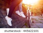 close up of women legs and... | Shutterstock . vector #445622101