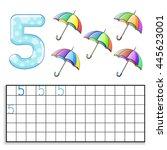 number 5 with five umbrellas | Shutterstock .eps vector #445623001