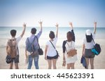 a group of five young teenager... | Shutterstock . vector #445623391