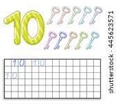 number ten with ten keys | Shutterstock .eps vector #445623571