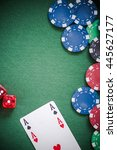 playing cards dices and poker... | Shutterstock . vector #445627177