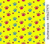 bright yellow paw print vector... | Shutterstock .eps vector #445627975