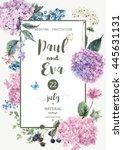 vintage floral wedding... | Shutterstock . vector #445631131