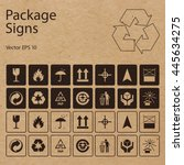 Vector packaging symbols on vector cardboard background. Shipping icon set including recycling, fragile, flammable, this side up, handle with care, keep dry, other symbols. Use on package, carton box. | Shutterstock vector #445634275
