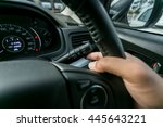 car interior wheel controls and ... | Shutterstock . vector #445643221