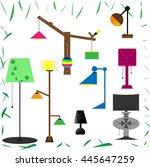 set of lamps. furniture and... | Shutterstock .eps vector #445647259