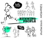 vector hand drawn active people ... | Shutterstock .eps vector #445649851