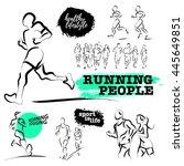 vector hand drawn active people ... | Shutterstock .eps vector #445649851
