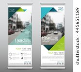 Green roll up business brochure flyer banner design vertical template vector, cover presentation abstract geometric background, modern publication x-banner and flag-banner, layout in rectangle size. | Shutterstock vector #445651189