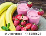 strawberry and banana smoothie... | Shutterstock . vector #445655629