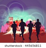 people running. vintage sport... | Shutterstock . vector #445656811
