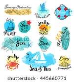 watercolor vector set of sea... | Shutterstock .eps vector #445660771