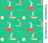 cute hand drawn boat pattern.... | Shutterstock .eps vector #445663021