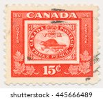 Small photo of ST. PETERSBURG, RUSSIA - JUNE 30, 2016: A postmark printed in CANADA, shows Threepenny Beaver, Old postage stamp on a new, circa 1951
