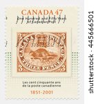 Small photo of ST. PETERSBURG, RUSSIA - JUNE 30, 2016: A postmark printed in CANADA, shows Threepenny Beaver, Old postage stamp on a new, circa 2001