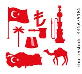 turkey symbol set. turkish... | Shutterstock .eps vector #445679185