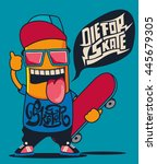 cool monster  skater ... | Shutterstock .eps vector #445679305