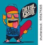 cool monster  skater ... | Shutterstock .eps vector #445679305