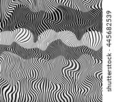 3d wavy striped black and white ... | Shutterstock .eps vector #445682539