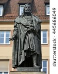 Small photo of NUREMBERG, GERMANY - APRIL 10, 2016. Albrecht Durer Monument in Nuremberg was the first monument in Germany to be erected in honour of artist. ?esigned by Christian Rauch, cast by Jacob Burgschmiet.